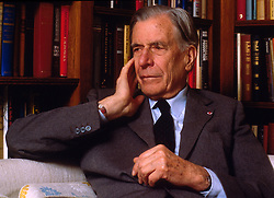 Apr 29, 2006; Cambridge, MA, USA; FILE PHOTO: 1996; JOHN KENNETH GALBRAITH, 97, noted economist and Harvard University professor died of natural causes at Mount Auburn Hospital in MA, April 29th, 2006. Born in Canada, Galbraith served as adviser to Democratic presidents from Franklin D. Roosevelt to Bill Clinton, and was John F. Kennedy's ambassador to India. Also an author, Galbraith wrote his last book after turning 80 called 'Name-Dropping: From FDR On.' Some of his other books published were 'The Great Crash,' 'The Culture of Contentment,' 'Almost Everyone's Guide to Economics,' and 'The Affluent Society.' FILE PHOTO: 1996; Galbraith contemplates an interview question in his Cambridge, Massachusetts home 1996 (Credit Image: © Michael Quan/ZUMAPRESS.com)
