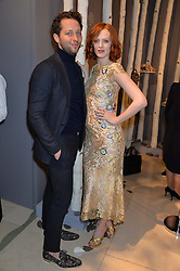 KAREN ELSON and DEREK BLASBERG at a Dinner to celebrate the launch of the Mulberry Cara Delevingne Collection held at Claridge's, Brook Street, London on 16th February 2014.