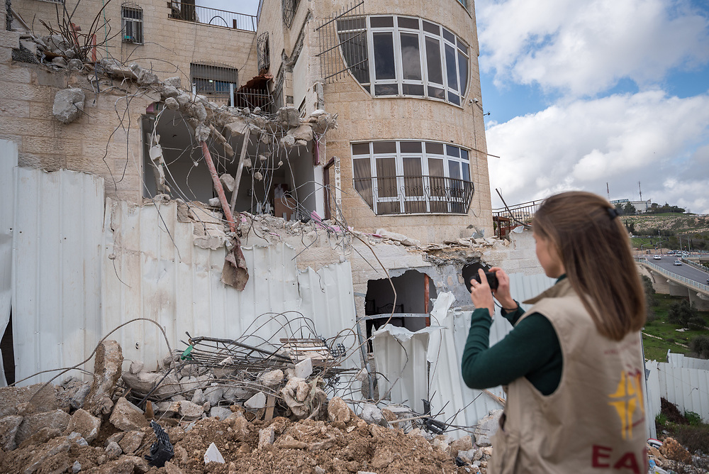 29 February 2020, Jerusalem: A participant in the Ecumenical Accompaniment Programme in Palestine and Israel documents how a home in the Shu'fat village in Jerusalem has just been demolished. As building permits are notoriously difficult, in some cases impossible, for Palestinians to obtain, demolition of houses stated not to have the relevant permits is common in the area. This time, the family lost their living room, two bathrooms, and kitchen.