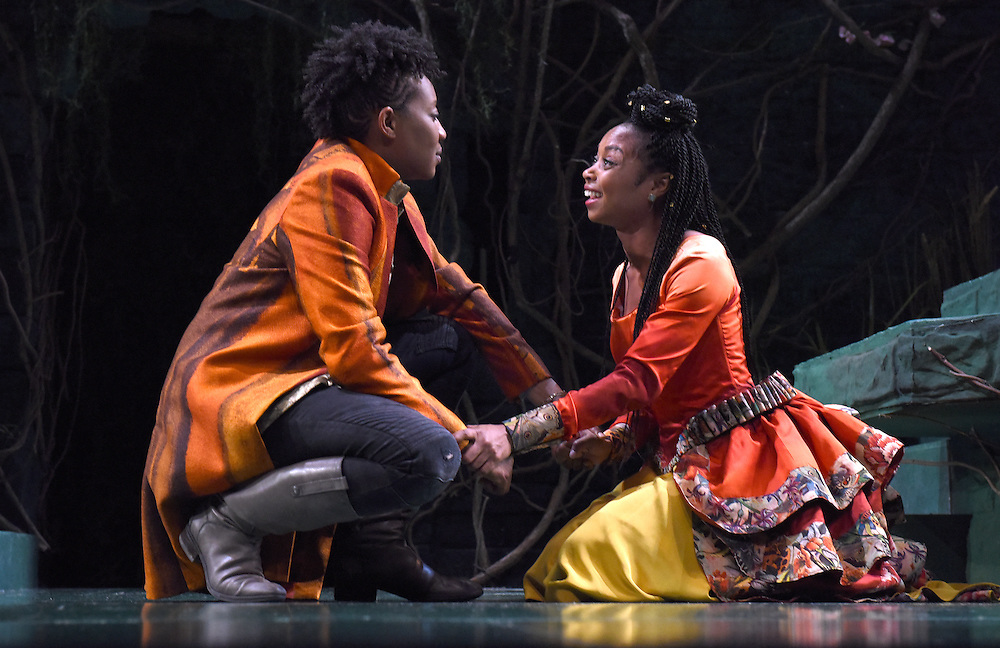 """Mara Lavitt -- Special to the Hartford Courant<br /> March 24, 2016<br /> The run-through of William Shakespeare's """"Cymbeline,"""" at the University Theatre at Yale. Miriam A. Hyman as Posthumus Leonatus and Sheria Irving as Imogen."""
