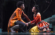 "Mara Lavitt -- Special to the Hartford Courant<br /> March 24, 2016<br /> The run-through of William Shakespeare's ""Cymbeline,"" at the University Theatre at Yale. Miriam A. Hyman as Posthumus Leonatus and Sheria Irving as Imogen."
