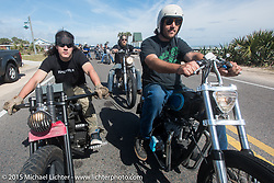 Brad Gregory (L) of Glenwood, IA on his custom Sportster with Eric Allard of Lakeland, FL on his 1968 custom Triumph on A1A south of Flagler Beach during Daytona Beach Bike Week 2015. FL, USA. March 13, 2015.  Photography ©2015 Michael Lichter.