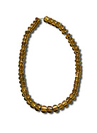 Bronze Age Hattian gold necklace from Grave L,  possibly a Bronze Age Royal grave (2500 BC to 2250 BC) - Alacahoyuk - Museum of Anatolian Civilisations, Ankara, Turkey. Against a white background .<br /> <br /> If you prefer to buy from our ALAMY PHOTO LIBRARY  Collection visit : https://www.alamy.com/portfolio/paul-williams-funkystock/royal-tombs-alaca-hoyuk-bronze-age.html (TIP refine search by adding background colour in the LOWER search box)<br /> <br /> Visit our ANCIENT WORLD PHOTO COLLECTIONS for more photos to download or buy as wall art prints https://funkystock.photoshelter.com/gallery-collection/Ancient-World-Art-Antiquities-Historic-Sites-Pictures-Images-of/C00006u26yqSkDOM