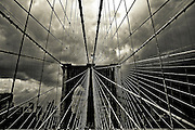 close-up on the Brooklyn Bridge cables, New York, 2008.