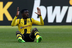 DORTMUND, April 30, 2017  Ousmane Dembele of Borussia Dortmund reacts during the Bundesliga soccer match between Borussia Dortmund and 1.FC Cologne at the Signal Iduna Park in Dortmund, Germany on April 29, 2017. The match ended in a 0-0 draw. (Credit Image: © Joachim Bywaletz/Xinhua via ZUMA Wire)