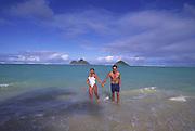 Couple, Lanikai Beach, Oahu, Hawaii<br />