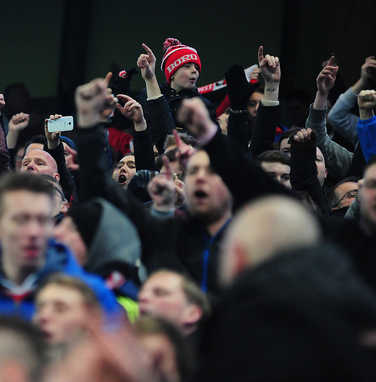 Middlesbrough fans during the second half<br /> <br /> Photographer Chris Vaughan/CameraSport<br /> <br /> Football - The FA Cup Fourth Round - Manchester City v Middlesbrough - Saturday 24th January 2015 - Etihad Stadium - Manchester<br /> <br /> © CameraSport - 43 Linden Ave. Countesthorpe. Leicester. England. LE8 5PG - Tel: +44 (0) 116 277 4147 - admin@camerasport.com - www.camerasport.com
