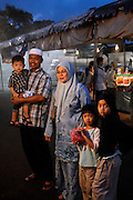 Moslem family at night market, Bandar Seri Begawan, Brunei National Day celebrations, Bandar Seri Begawan