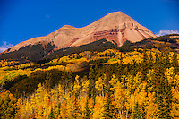 Fall color, Engineer Mountain,  San Juan Mountains, north of Durango, Colorado USA.