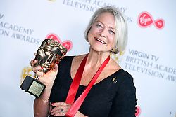 Kate Adie with her fellowship award in the press room at the Virgin TV British Academy Television Awards 2018 held at the Royal Festival Hall, Southbank Centre, London.