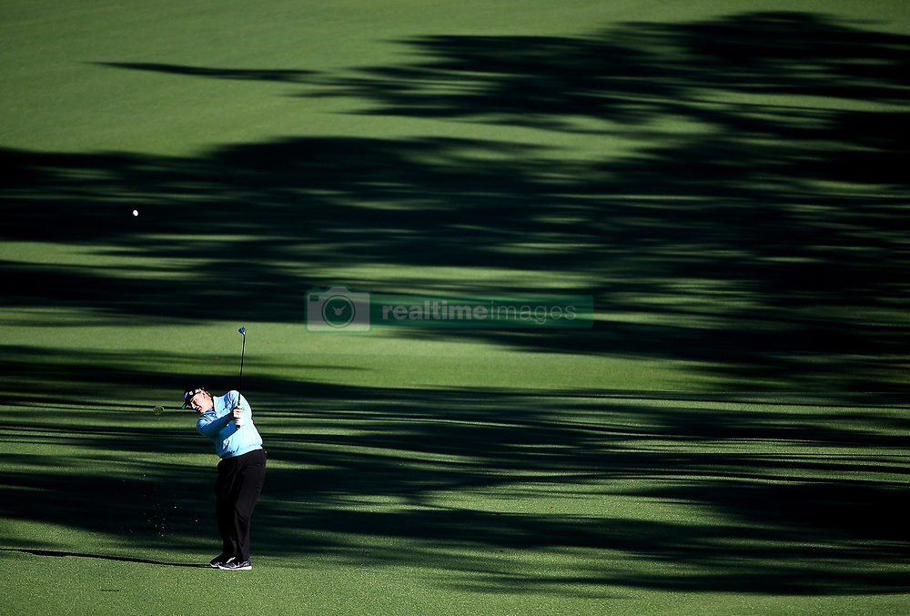 Ernie Els hits his second shot to the 2nd green during the second round of the Masters Tournament at Augusta National Golf Club in Augusta, Ga., on Friday, April 7, 2017. (Photo by Jeff Siner/Charlotte Observer/TNS)  *** Please Use Credit from Credit Field ***