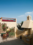 A rooftop terrace of a hotel in Fes, Morocco