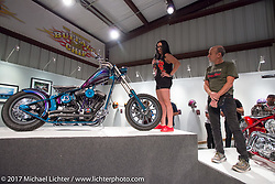 Custom builder Nikki Martin of Roy's Toys speaking about her bike at the Old Iron - Young Blood exhibition media and industry reception in the Motorcycles as Art gallery at the Buffalo Chip during the annual Sturgis Black Hills Motorcycle Rally. Sturgis, SD. USA. Sunday August 6, 2017. Photography ©2017 Michael Lichter.