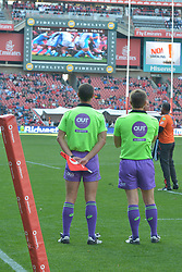14-07-18 Johannesburg. Emirates Airlines Park. Emirates Lions vs Vodacom Blue Bulls.<br /> 1st half. Touch judge and referee watching a reply for a TMO decision.<br /> Picture: Karen Sandison/African News Agency (ANA)