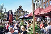 Nederland, the netherlands, Nijmegen, 13-6-2016 Terrassen in Nijmeegse binnenstad, burchtstraat en Grote Markt FOTO: FLIP FRANSSEN
