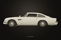 Black and white version of the legendary Aston Martin DB5<br />