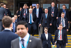 © Licensed to London News Pictures  . 03/10/2017 . Manchester , UK . Foreign Secretary BORIS JOHNSON leaves the convention centre after delivering his keynote on day three of the Conservative Party Conference at the Manchester Central Convention Centre . Photo credit : Joel Goodman/LNP