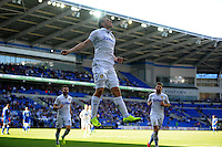 CELE - Leeds United's Chris Wood celebrates scoring the opening goal <br /> <br /> Photographer Ashley Crowden/CameraSport<br /> <br /> The EFL Sky Bet Championship - Cardiff City v Leeds United - Saturday 17 September 2016 - Cardiff City Stadium - Cardiff<br /> <br /> World Copyright © 2016 CameraSport. All rights reserved. 43 Linden Ave. Countesthorpe. Leicester. England. LE8 5PG - Tel: +44 (0) 116 277 4147 - admin@camerasport.com - www.camerasport.com