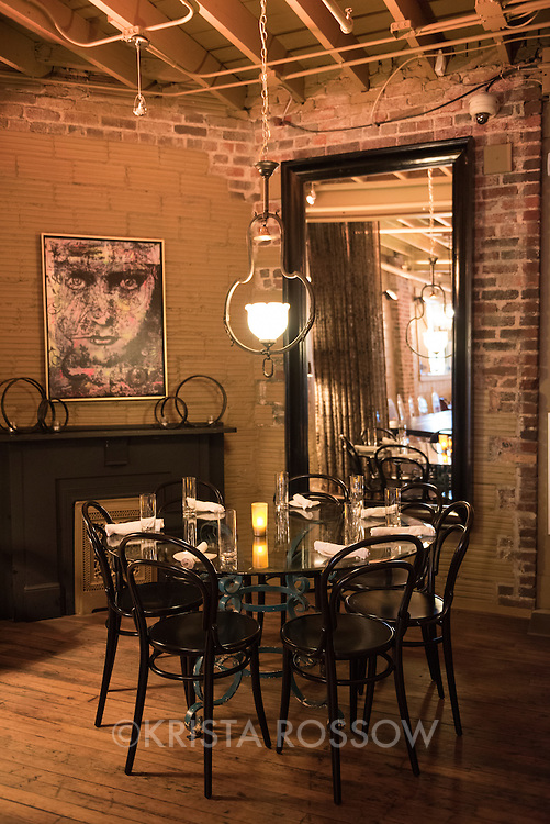 Interior shot of the dining room at Chef Katie Button's restaurant Nightbell, which is located at 32 S Lexington Avenue in Downtown Asheville, North Carolina.