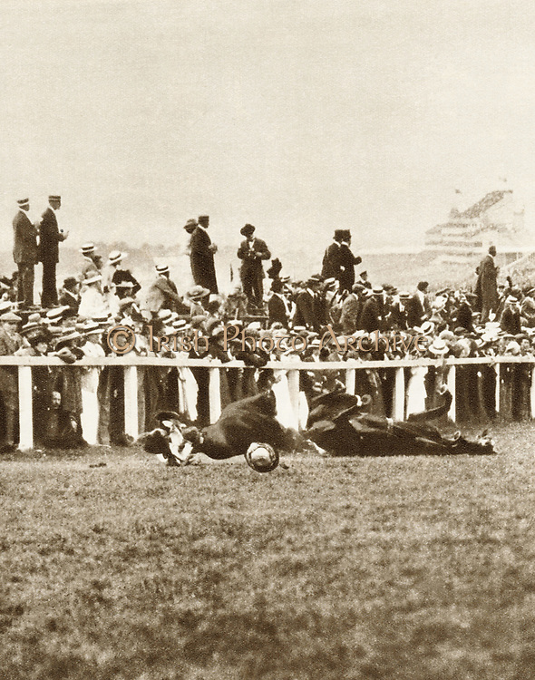 Emily Davison (1872-1913) English suffragette, throwing herself in front of George V's horse Anmer during 1913 Derby in attempt to gain recognition for suffragette cause. She died of her injuries.