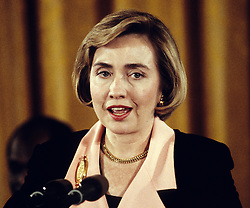 First lady Hillary Rodham Clinton speaks as part of the program commemorating the 30th anniversary of the Head Start anti-poverty program at the White House in Washington, D.C, USA, on May 18, 1994. Photo by Ron Sachs/CNP/ABACAPRESS.COM