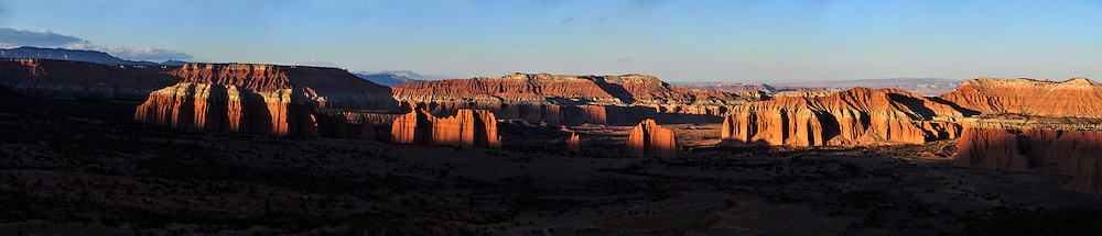 Panorama of Cathedral Valley, Capital Reef National Park, Utah.