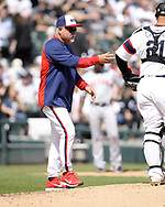 CHICAGO - MAY 05:  Manager Rick Renteria #36 of the Chicago White Sox makes a pitching change against the Boston Red Sox on May 5, 2019 at Guaranteed Rate Field in Chicago, Illinois.  (Photo by Ron Vesely)  Subject:  Ricky Renteria