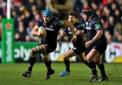 Graham Kitchener (Leicester) goes on the charge - Photo mandatory by-line: Patrick Khachfe/JMP - Tel: Mobile: 07966 386802 18/01/2014 - SPORT - RUGBY UNION - Welford Road, Leicester - Leicester Tigers v Ulster Rugby - Heineken Cup.