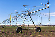 Mobile lateral move irrigation boom system in field of new vegetable crop near Warwick, Queensland, Australia.<br />