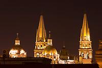 Metropolitan Cathedral (Catedral Metropolitana) at night, Plaza de Armas (square) in the historic Center of Guadalajara, Jalisco, Mexico