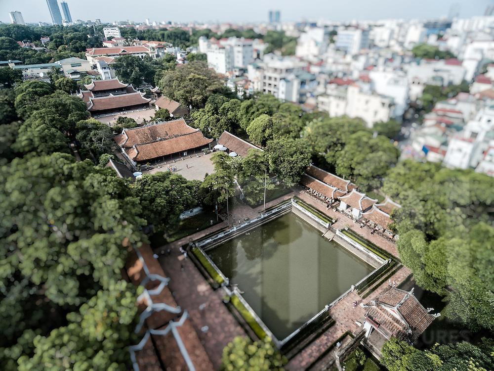 Aerial view of Temple of Literature in Hanoi, Vietnam, Southeast Asia