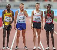 Andrew Butchart (Great Britain), yawns, yawning, before Heat 1 of the 5000 metres Man, Round 1, Oscar Chelimo (Uganda), Julien Wanders (Switzerland), Jacob Krop (Kenya), during the 2019 IAAF World Athletics Championships at Khalifa International Stadium, Doha, Qatar on 27 September 2019.