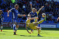 Aiden O'Brien of Millwall © tries an overhead kick at goal. Skybet football league championship, Cardiff city v Millwall at the Cardiff city stadium in Cardiff, South Wales on Saturday 18th April 2015<br /> pic by Andrew Orchard, Andrew Orchard sports photography.