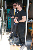 Jonathan Sothcott, Nick Moran, on the set of Renegades ,Upper Street Islington<br /> .