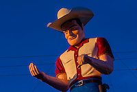 """Muffler Man"" a huge cowboy atop John's Used Cars, Historic Route 66, Gallup, New Mexico USA."