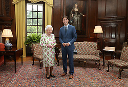 July 7, 2017 - Edinburgh, United Kingdom - Image ©Licensed to i-Images Picture Agency. 05/07/2017. Edinburgh, United Kingdom. Queen Elizabeth II greets Canadian Prime Minister Justin Trudeau during an audience at the Palace of Holyroodhouse in Edinburgh, United Kingdom.  Picture by ROTA  / i-Images  UK OUT FOR 28 DAYS (Credit Image: © Rota/i-Images via ZUMA Press)