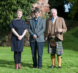 'Rebus' creator Ian Rankin with distillery owner Drew McKenzie Smith and his wife Helen after the author opened Scotland's newest distillery at Lindores Abbey in Fife, which is on the site of the earliest recorded distillation of whisky over 500 years ago.<br /> <br /> © Dave Johnston/ EEm