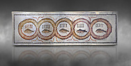 Pictures of a geometric Roman doorstep mosaics depicting five fishes surrounded by bars and a medallion, from the ancient Roman city of Thysdrus. 3rd century AD The Small Baths in the M'barek Rhaiem area. El Djem Archaeological Museum, El Djem, Tunisia. Against a grey background<br /> <br /> The mosaic depicts the emblem of the Pentasii, a powerful Nortyh African Roman association that organised and  maintained the wild animals and hired animal killers to carry on the games in ampitheatres. .<br /> <br /> If you prefer to buy from our ALAMY PHOTO LIBRARY Collection visit : https://www.alamy.com/portfolio/paul-williams-funkystock/roman-mosaic.html . Type - El Djem - into the LOWER SEARCH WITHIN GALLERY box. Refine search by adding background colour, place, museum etc<br /> <br /> Visit our ROMAN MOSAIC PHOTO COLLECTIONS for more photos to download as wall art prints https://funkystock.photoshelter.com/gallery-collection/Roman-Mosaics-Art-Pictures-Images/C0000LcfNel7FpLI