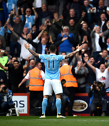 Goalscorer Aleksandar Kolarov of Manchester City celebrates in front of away supporters at the Vitality Stadium - Mandatory by-line: Paul Knight/JMP - 02/04/2016 - FOOTBALL - Vitality Stadium - Bournemouth, England - AFC Bournemouth v Manchester City - Barclays Premier League