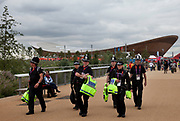 London 2012 Olympic Park in Stratford, East London. Security on site is very important, and with many police officers around the whole area feels safe.