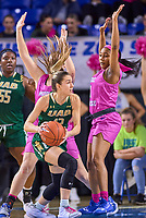 UAB Blazers guard Trista Magee (12) during the UAB Blazers at Middle Tennessee Blue Raiders college basketball game in Murfreesboro, Tennessee, Thursday, February, 20, 2020.<br /> Photo: Harrison McClary/All Tenn Sports