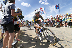 July 15, 2018 - Amiens Metropole, FRANCE - Belgian Yves Lampaert of Quick-Step Floors pictured in action during the eighth stage of the 105th edition of the Tour de France cycling race, from Arras Citadelle to Roubaix (156,5 km), in France, Sunday 15 July 2018. This year's Tour de France takes place from July 7th to July 29th. BELGA PHOTO YUZURU SUNADA (Credit Image: © Yuzuru Sunada/Belga via ZUMA Press)
