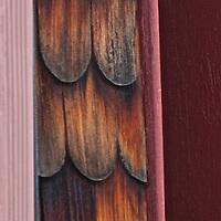 Aged wood siding.