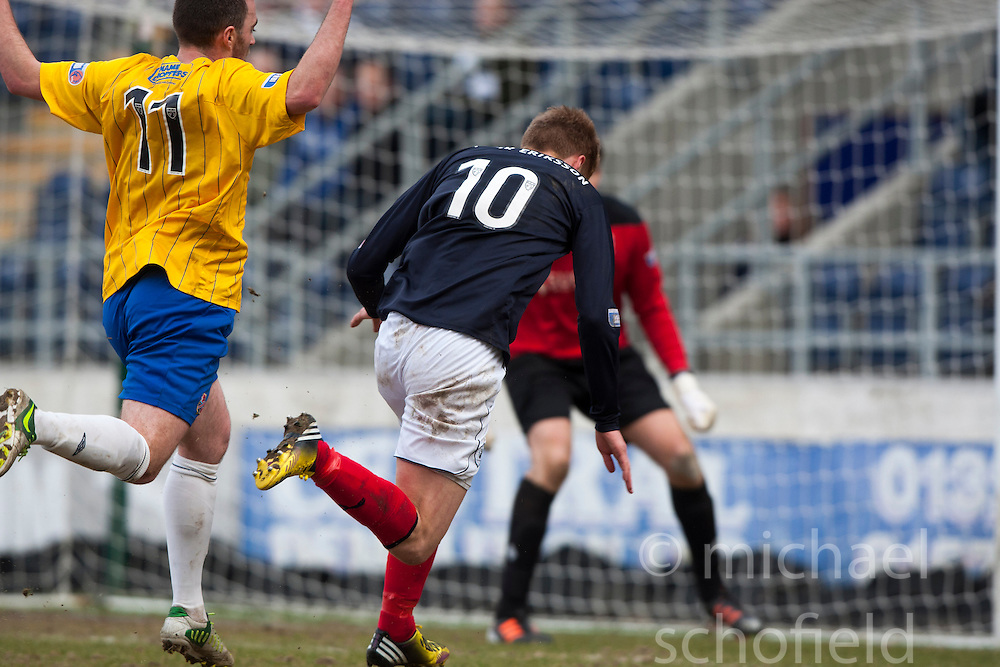 Cowdenbeath's Jamie Stevenson brings down Falkirk's Jay Fulton for a penalty..Falkirk 4 v 0 Cowdenbeath, 6/4/2013..©Michael Schofield..