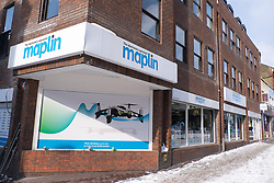 @Licensed to London News Pictures 28/02/2018. Maidstone, Kent. Maplin store in Week Street, Maidstone, Kent. Maplin one of the UKs biggest electronics retailers in the UK has gone into administration following collapse in negotiations with potential new buyers. With more than 200 oiutlets up to 2,300 staffs jobs are at risk. Photo credit: Manu Palomeque/LNP