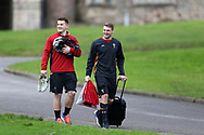 Jonathan Davies and Dan Biggar of Wales ® share a joke as they arrive for Wales Rugby team training at the Vale Resort, Hensol near Cardiff, South Wales on Wednesday 8th March 2017. The team are preparing for the the RBS Six nations match against Ireland.  pic by  Andrew Orchard, Andrew Orchard sports photography.