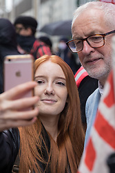 London, UK. 5th July, 2021. Student Patsy Stevenson poses for a selfie with former Labour Party leader Jeremy Corbyn at a rally organised by Doctors in Unite outside the Department of Health and Social Care. The rally was organised to mark the 73rd birthday of the National Health Service and in protest against the sale of one of the UK's biggest GP practice operators to the US health insurance group Centene Corporation.