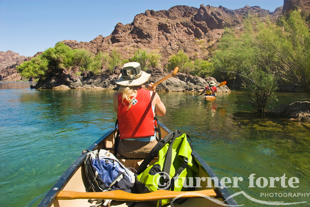 Paddlers explore the The Black Canyon, Nevada.
