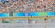 Shunyi, CHINA. Great Britain's, Tim BRABANTS, paddles home, winning his first race and progressing through to Fri's final, of the Men's Kayak single [K1] 1000m, Fri 22.08.2008. at the 2008 Olympic Canoe/Flatwater Racing, Shunyi Rowing-Canoeing Course.  Mon 18.08.2008.  [Mandatory Credit: Peter SPURRIER, Intersport Images]