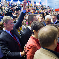 Ferenc Gyurcsany (2nd L) former prime minister of Hungary arrives to the Foundation of the Democratic Coallition Party in Budapest, Hungary on October 22, 2011. ATTILA VOLGYI